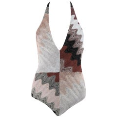 MISSONI Mare Multicolor Metallic Knit One Piece Halter Bodysuit Bathing Swimsuit