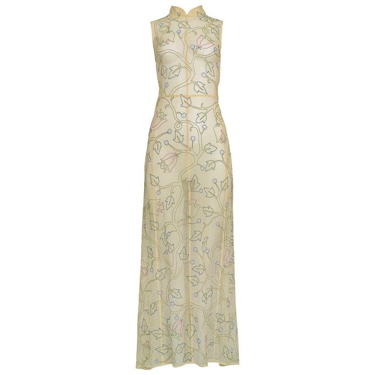 Vintage Prada Floral Embroidered Mesh Dress