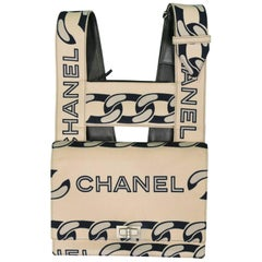 Chanel Vintage Canvas and Leather Chain Print Bag