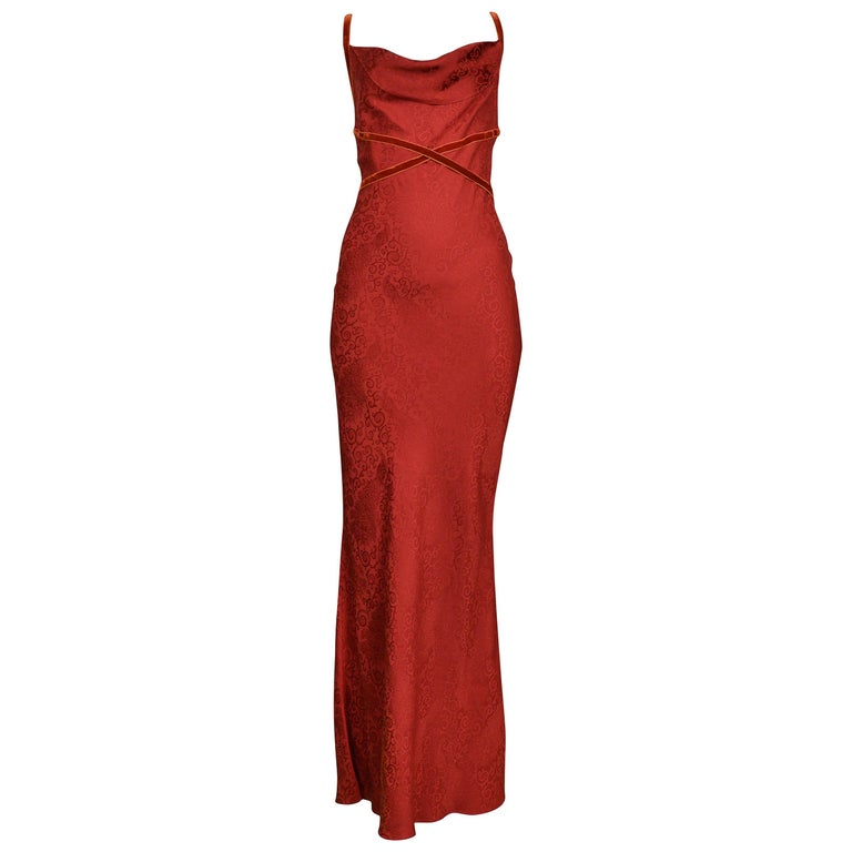 John Galliano Vintage Red Velvet Ribbon Bias Slip Gown For Sale