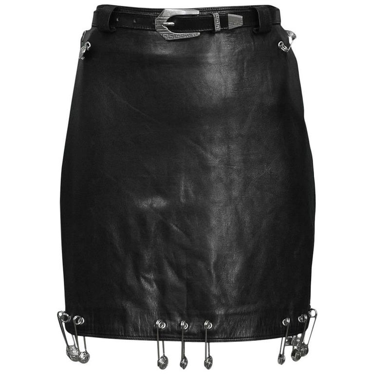 Vintage Gianni Versace 1994 Safety Pin Leather Mini Skirt