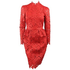 VALENTINO Size S Red Leather Lace Long Sleeve Cocktail Dress