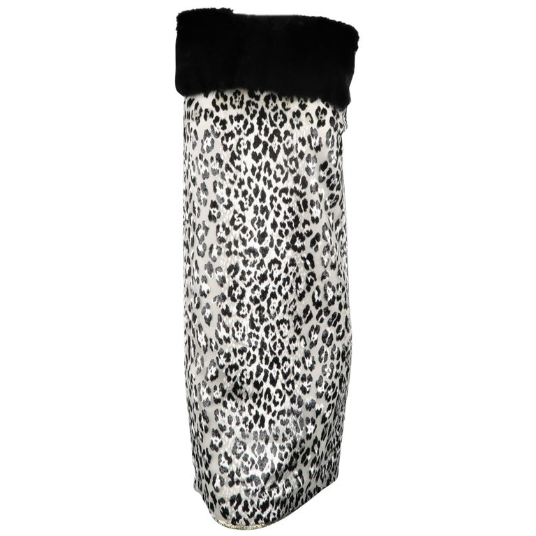 Giambattista Valli White and Black Leopard Jacquard Fur Panel Cocktail Dress