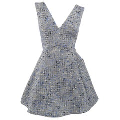 Christian Dior Blue Wool Blend Tweed V Neck Pleated Skirt Cocktail Dress