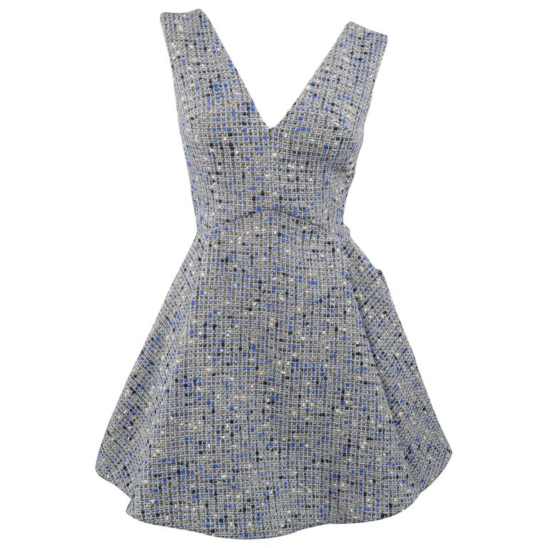 Christian Dior Blue Wool Blend Tweed V Neck Pleated Skirt Cocktail Dress For Sale