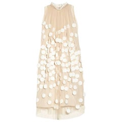 Stella McCartney Peach Beige Cream Polka Dot Applique Tulle Cocktail Dress