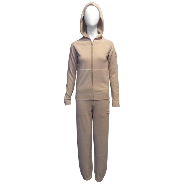 Chanel Gold and Beige Long Sleeve Hooded Cashmere Tracksuit Sz Fr34, US2