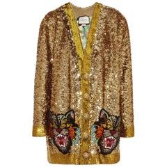 Gucci Gold Sequin Silk Rhinestone Tiger Pocket Cardigan Jacket