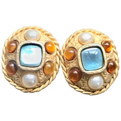 Vintage CHANEL golden oval faux pearl, blue and orange gripoix large earrings.