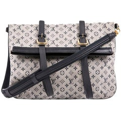 LOUIS VUITTON Bag in Gray and LV Blue Monogram Canvas and Navy Leather Trim