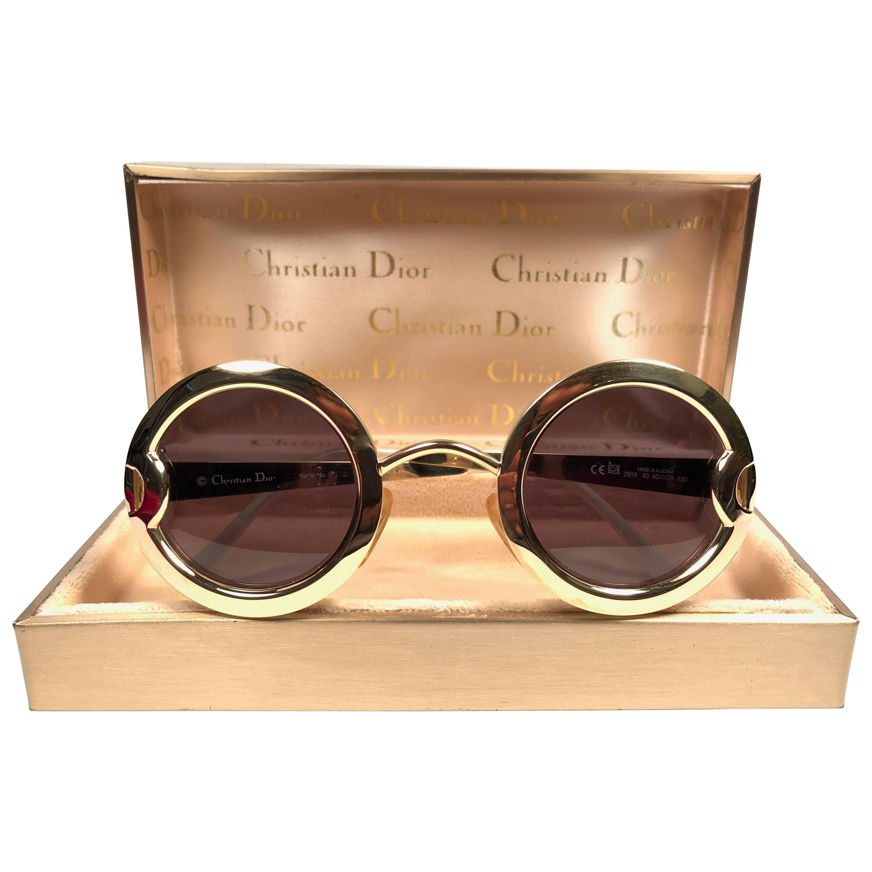 Christian Dior Limited Edition 2918 40 Round Gold Sunglasses, 1980s