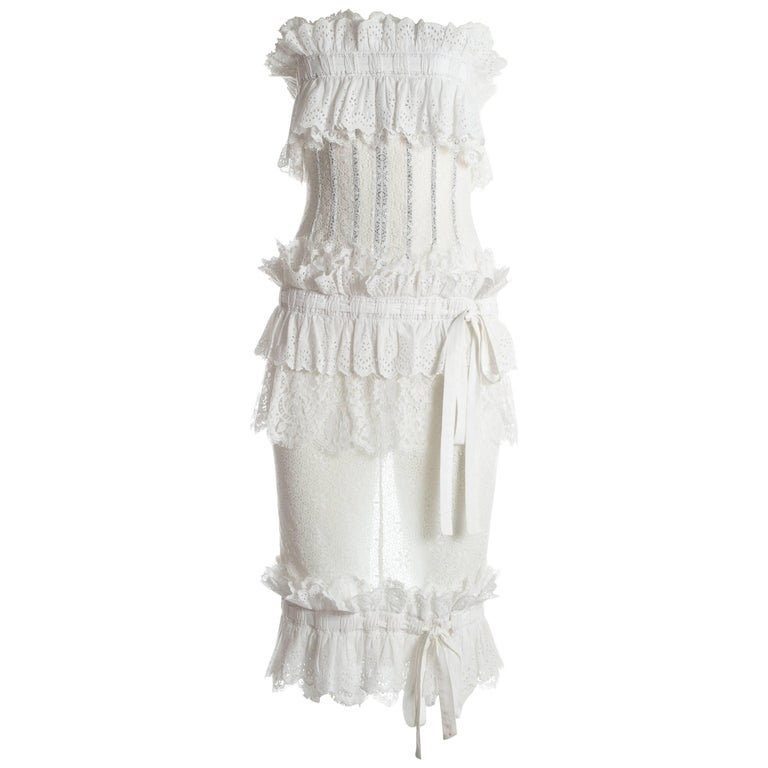 Dolce & Gabbana white Broderie Anglaise and lace corseted dress, S/S 2006