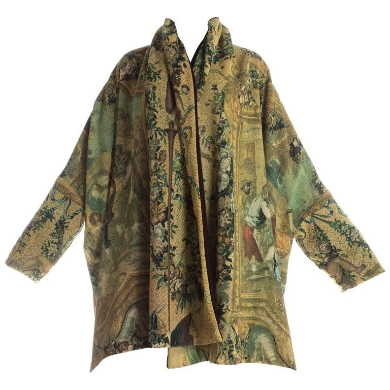 Dolce & Gabbana wool crepe reversible blanket coat, c. 1989-90