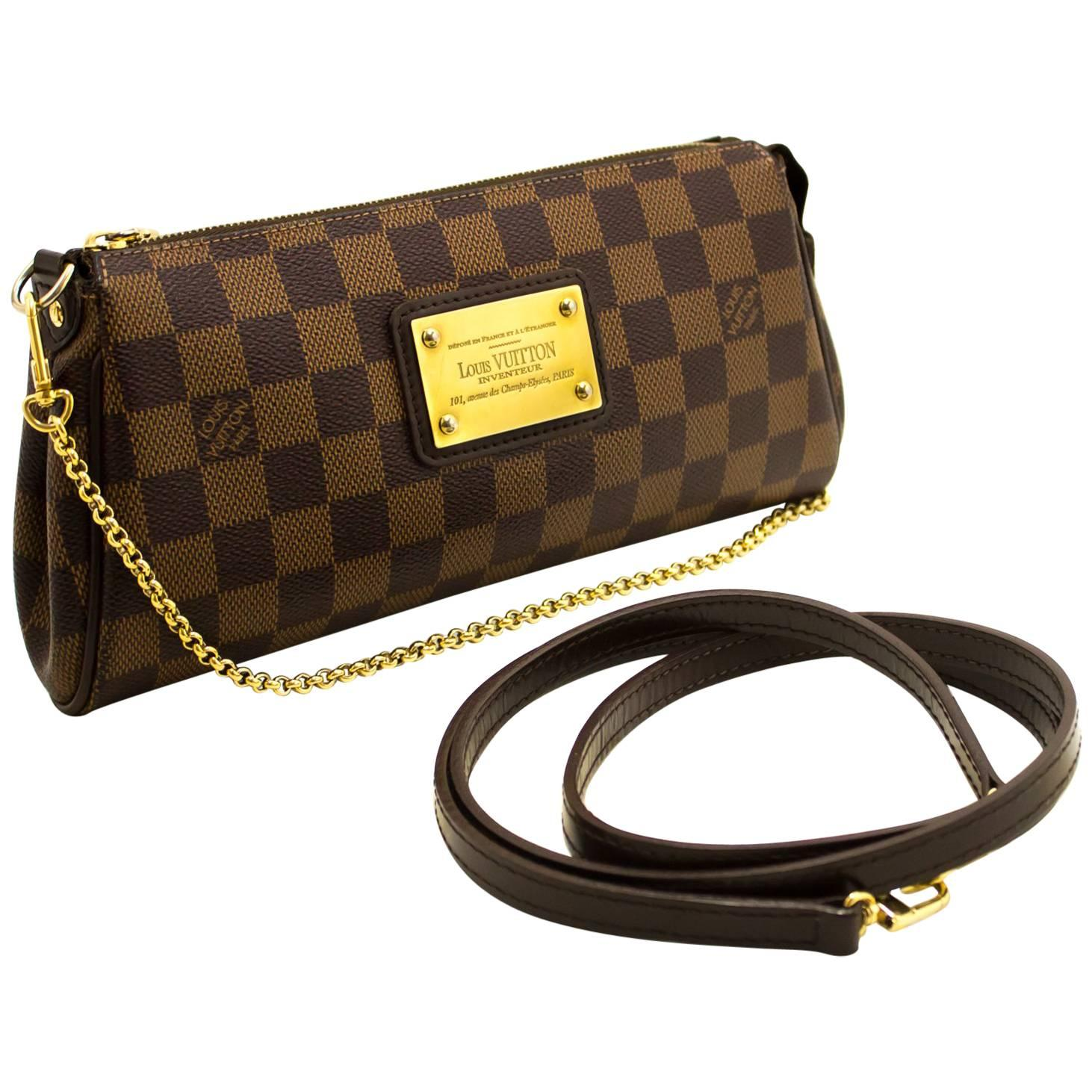 1stdibs Louis Vuitton Eva Ebene Damier Canvas Shoulder Bag Handbag Gold AUplRzQ
