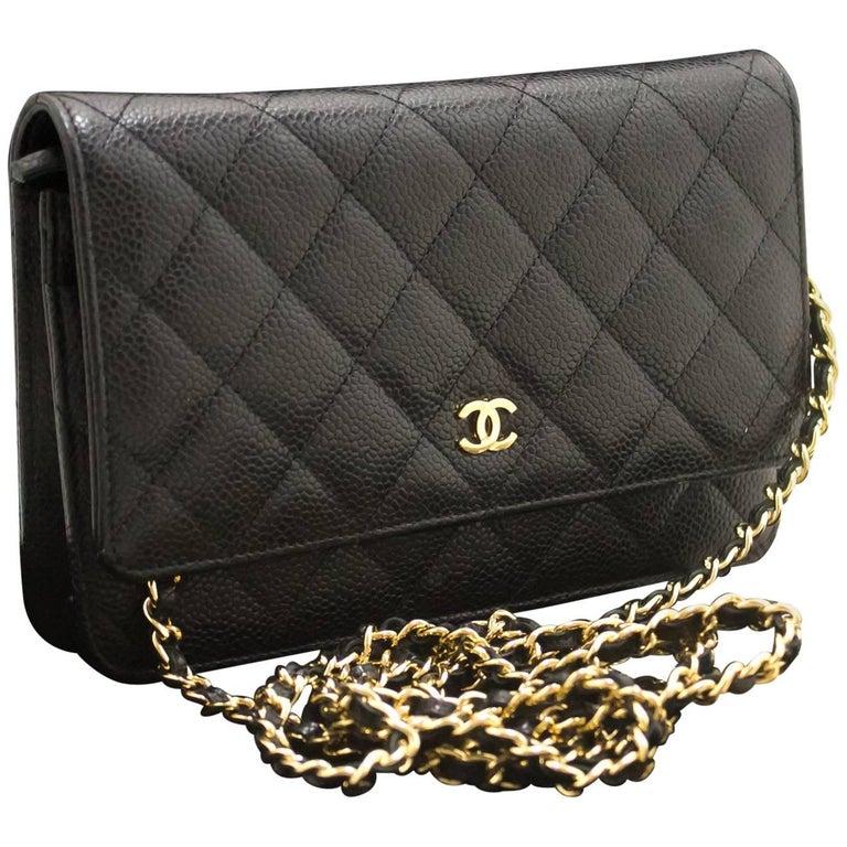 1f15c606b6e4 CHANEL Caviar Wallet On Chain WOC Black Shoulder Bag Crossbody For Sale