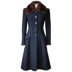 Dolce & Gabbana Sable-Trimmed Boucle Coat