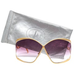 New Vintage Christian Dior 2056 40 Butterfly Gold & Yellow Sunglasses