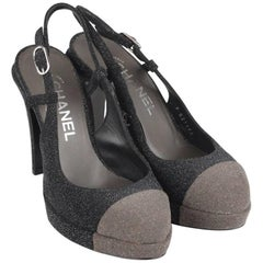 Chanel Gray Two Tone Glitter Cap Toe Slingback Pumps Heels Size 36C