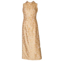A Vintage 1960s Gold brocade high neck Evening Gown