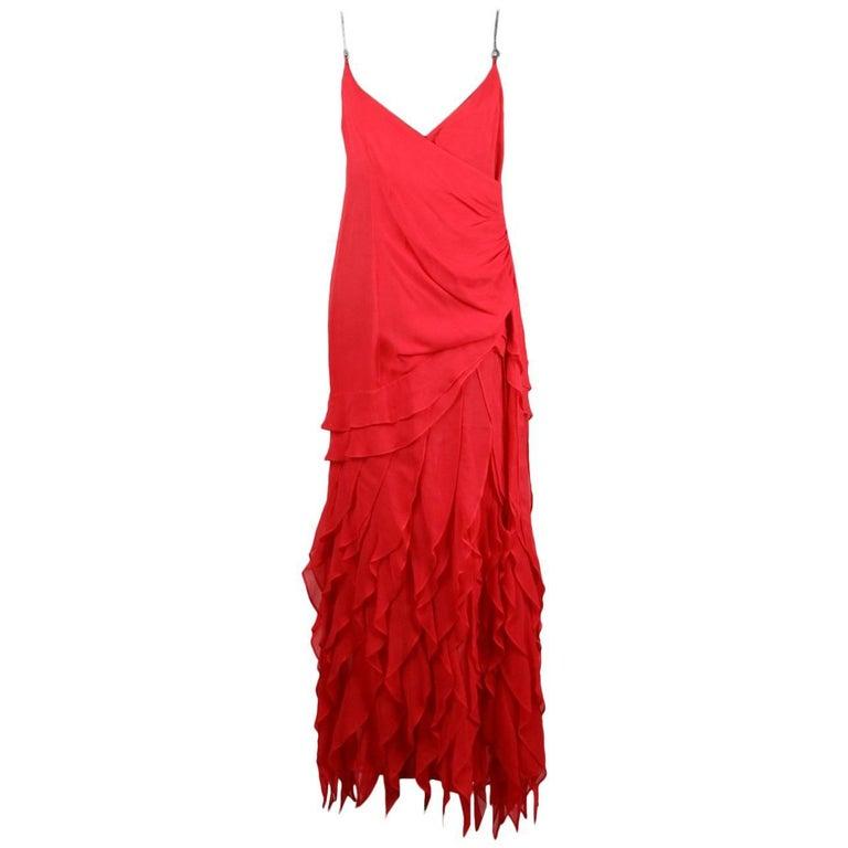 Gai Mattiolo Magenta Ruffled Silky Dress with Rhinestones Size 44
