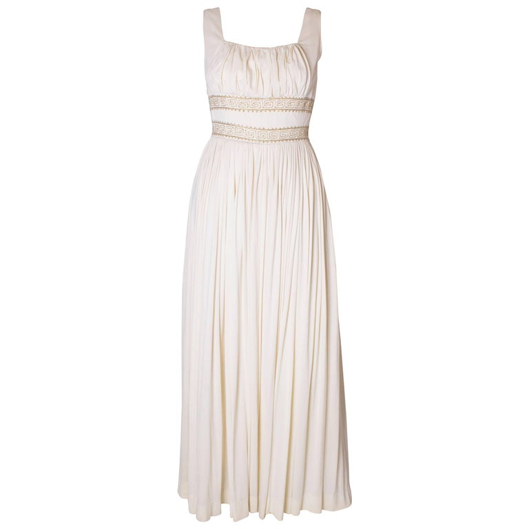 A Vintage 1970s white Grecian Style evening Gown For Sale at 1stdibs