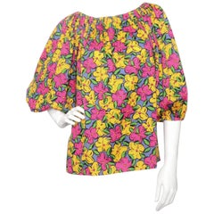 A 1980s Vintage Yves Saint Laurent Floral Cotton Peasant Blouse