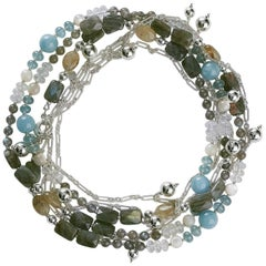 Rock Lily Beaded Aquamarine Rutile Multicolored Silver Re-Attachable Necklace