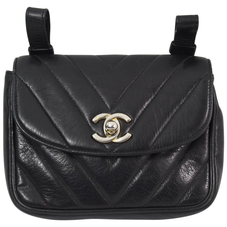 Vintage Chanel Belt Bag in Black Lambskin Leather