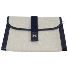 1984 Vintage Hermes  PM Clutch in Canvas and Leather.