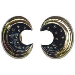 Courrèges Paris Gold Plated and Black Enamel Clip On Earrings