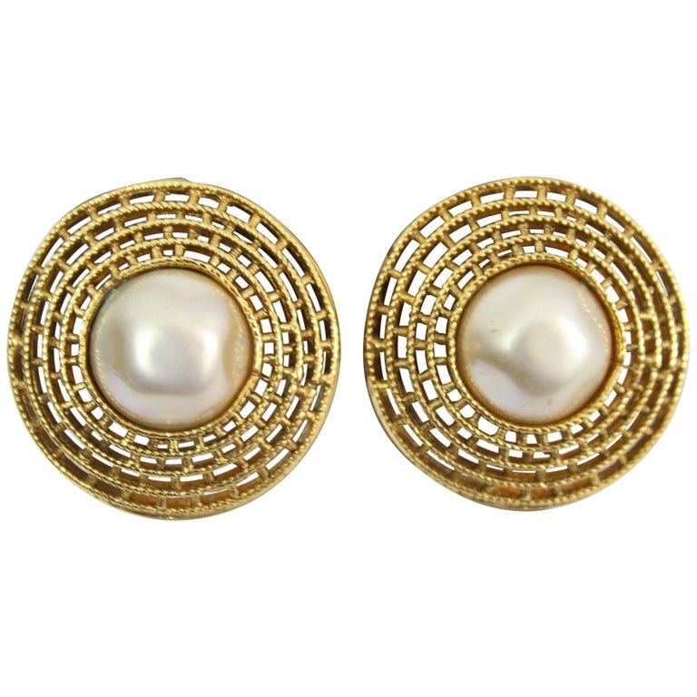 5008c4a02 Chanel Vine Earrings In Gold Plated Metal And Fake Pearls At 1stdibs