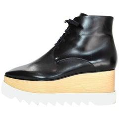 Stella McCartney Black Elyse Vegan Glossed Leather Boots Sz 38.5