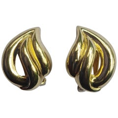 Christian Dior Classic Gold Plated Clip On Vintage Earrings