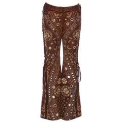 Christian Dior by John Galliano Brown Leather Embellished Pants w Lace Up Sides