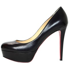 Christian Louboutin Black Leather Bianca 140mm Pumps Sz 41 with DB