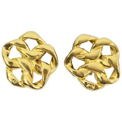 Chanel Chain  Vintage  Earrings in Gold Plated Metal