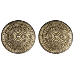 Yves Saint Laurent 1980s Gold Tone Large Round Clip On Earrings
