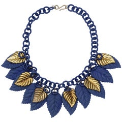1930s Blue and Gold Celluloid Leaf Vintage Necklace