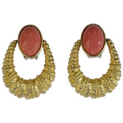 Kenneth Jay Lane 1980s Gold Tone and Faux Coral Hoop Clip On Earrings
