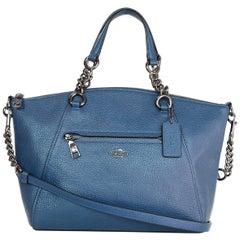 Coach Blue Leather Prairie Satchel Bag w. Strap rt. $325