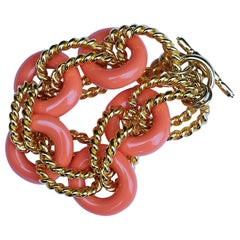 Kenneth Jay Lane 1980s Gold Tone Rope Twist Link and Faux Coral Vintage Bracelet