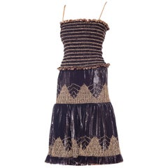 2 Piece Gold and Purple Lurex Bandeau Top and Pleated Skirt