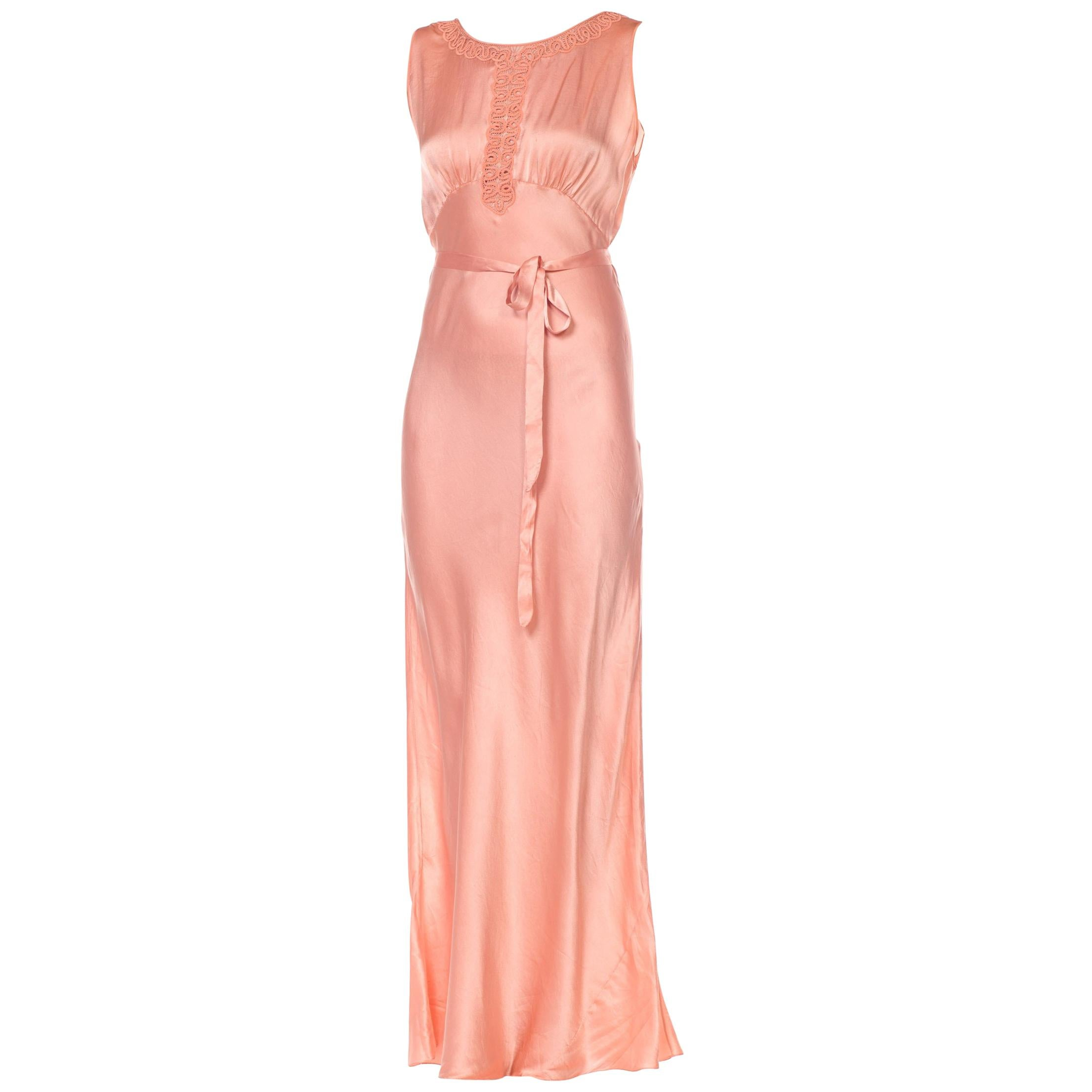 1930S Blush Pink Haute Couture Silk Charmeuse Bias Cut Negligee With Handmade L
