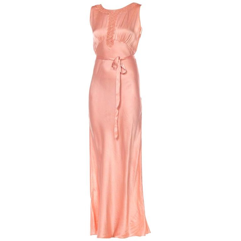 Bias Cut Silk Blush Peach Pink Negligee Night Gown, 1930s  For Sale