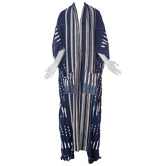 Morphew Collection African Handwoven Tie-dye Indigo Robe with Striped Collar