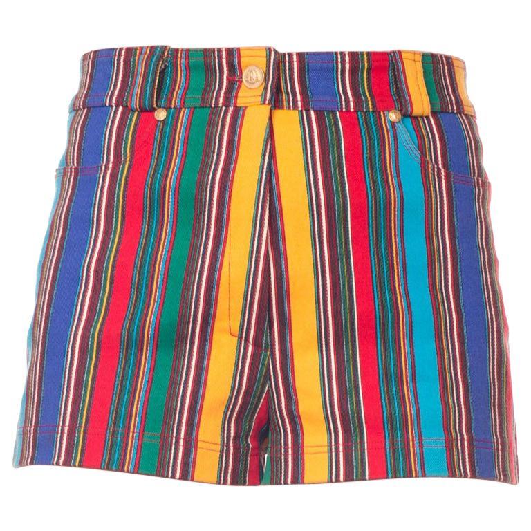 Gianni Versace Rainbow Striped Denim Shorts