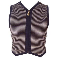 Gianni Versace Striped Suede Buckle Vest