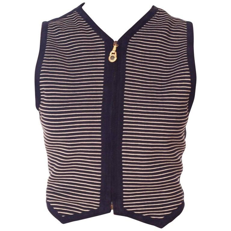 Gianni Versace Striped Suede Buckle Vest