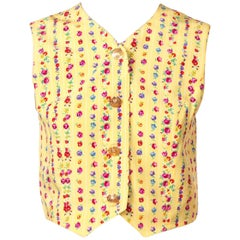 1990S GIANNI VERSACE Yellow Silk Floral Stripe Cotton Lined Vest Top With Gold