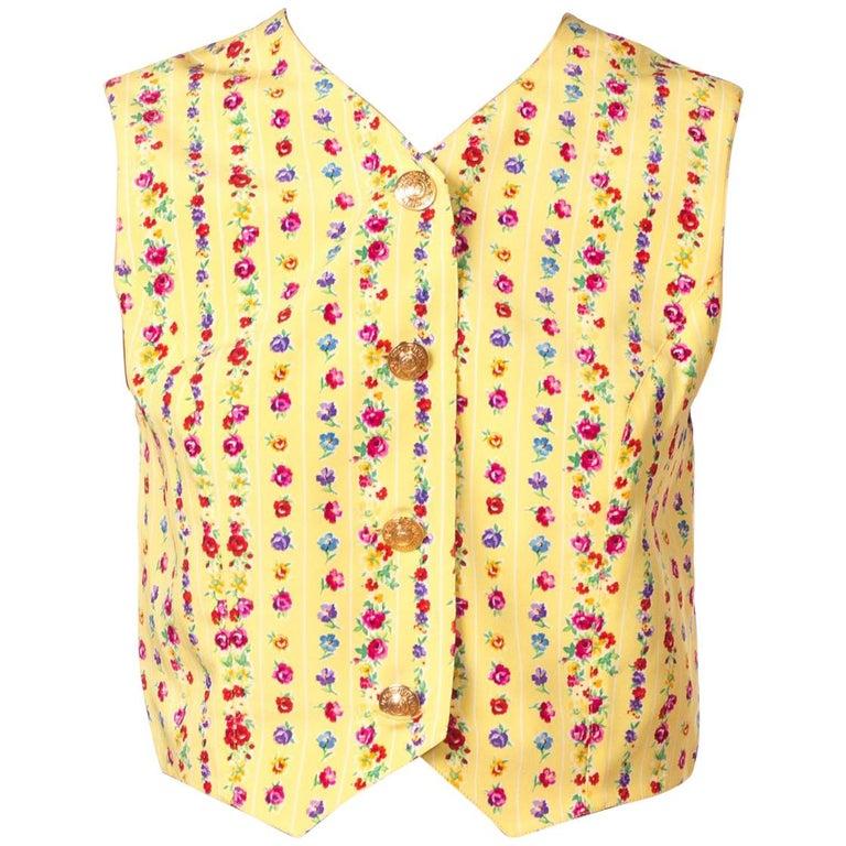 1990s Gianni Versace Floral Stripe Vest